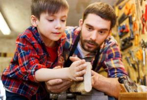father, son, dad, parent, child, kid, teach, help, woodwork, woodworking