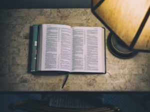 bible, word, book, scripture, table, lamp